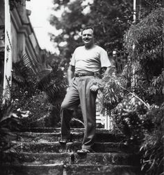 Ernest Hemingway in an undated photo, on the steps outside the Finca.