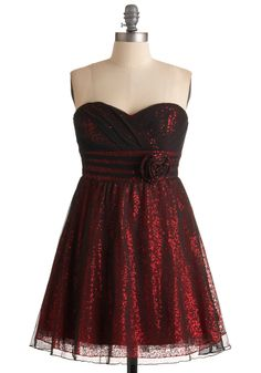 Stop, Style, and Roll Dress - Red, Black, Solid, Flower, Pleats, Sequins, Prom, Party, A-line, Empire, Mini, Strapless, Short, Summer, Formal
