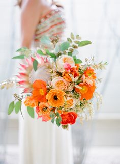 Tangerine Bouquet with Protea | photography by http://josevillablog.com