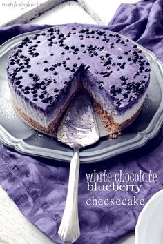 White Chocolate bluebery, no bake cheese cake. One of the most delicious cheesecakes Ive ever made!