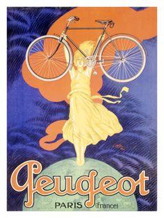 Poster Print Wall Art Print entitled Peugeot Bicycle, Paris, Vintage Poster, by Jean Carlu Vintage Advertisements, Vintage Ads, Vintage Posters, Vintage Bikes, Unique Vintage, Paris Poster, Bike Poster, Old Bicycle, Bicycle Art