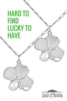 "Handcrafted four leaf clover necklace in fine silver (.999) with 18"" sterling silver chain. Each clover leaf is approximately 1 inch long by 1 inch wide and is signed on the back by the artist. #stpatricksday #jewelry #silverjewelry #handmadejewelry  #jewelofhavana"