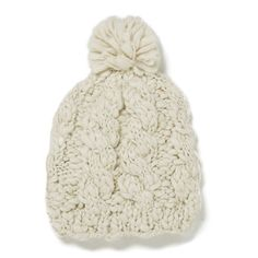 Impulse Women's Big Knitted Hat featuring polyvore, fashion, accessories, hats, beanies, bobble hat, bobble beanie hat, cream beanie, crown hat and chunky beanie