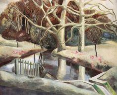 Landscape Paul Nash antique print 1946. British Artists, English Artists, Landscape Paintings, Landscapes, John Nash, Allotments, Winter Images, Tree Trunks, Post Impressionism