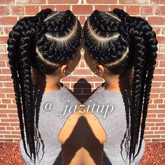 #cornrows #hair #natural #black Thick cornrowed pontyail.