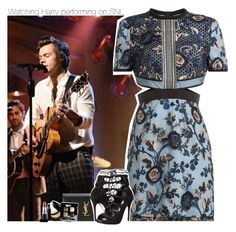 """Watching Harry performing on SNL"" by xcuteniallx ❤ liked on Polyvore featuring self-portrait, Yves Saint Laurent, Alexander McQueen, MAC Cosmetics and Chanel"