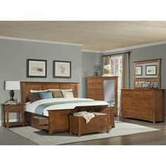 Simply Solid Avett Solid Wood 7 Piece King Bedroom Collection (King), Red  Cherry, Size Eastern King