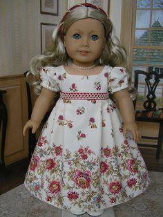 American Girl - border print dress, with headband for Caroline, Regency  by dolltimes Tomi Jane