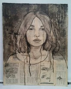 "India Ink over collage portrait. High School art. Art teacher Jennifer Lipsey Edwards. Art by 11th grader. 24x30"" on 1/8"" book board."