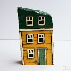 Row House Hand Painted Rock – Whink Inc. Painted Rock Animals, Hand Painted Rocks, Painted Stones, Stone Painting, House Painting, Painted Houses, Mosaic Rocks, Rock And Pebbles, House On The Rock