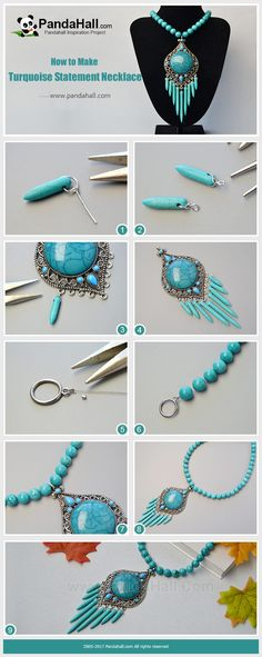 PandaHall Inspiration Project-----Turquoise Statement Necklace Hang tusk shaped turquoise beads onto the vintage turquoise link and then connect it with the necklace chain made with round turquoise beads, and finally you will get a piece of statement necklace! #PandaHall #Inspiration #Turquoise  #Necklace #diy #tutorial #craft #jewelrymaking