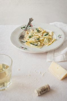 pea raviOli with sage butter sauce