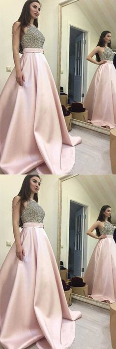 Long Prom Dresses,Pink Prom Dresses, Halter Prom Dresses,Backless Prom Dress,A Line Prom Gowns,Pink Prom Gowns,Beaded Prom Gowns,Graduation Dresses,Homecoming Dresses,Prom Dresses 2017