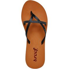 Reef Bliss Wild Flip Flop ($26) ❤ liked on Polyvore featuring shoes, sandals, flip flops, strappy flip flops, faux leather shoes, strap sandals, reef sandals and vegan leather shoes