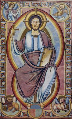 EARLY MEDIEVAL AND ROMANESQUE #4 - Christ in Majesty/ Unknown/ 1123/ Painted on the apse of the Church of San Climent, Taull, Catalunya, Spain/ Museu Nacional d'Art de Catalunya, Spain/