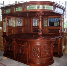 Antique covered English sty Corner L HOME BAR Furniture PUB man cave canopy RIGHT Hand