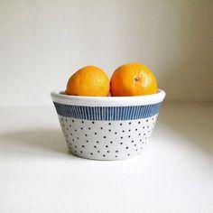 Ceramic Blue Striped Black Polka Dot Bowl-Small by jen e