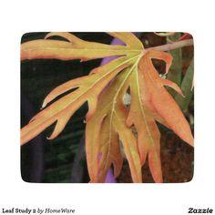 Decorative Glass Cutting Board, Leaf Study 2