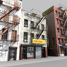 Model available on Turbo Squid, the world's leading provider of digital models for visualization, films, television, and games. 3d Building Models, Building Ideas, Train Info, City Block, Fire Escape, City Scapes, Landscape Background, Staircases, Model Trains
