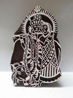 Indian wooden hand carved textile printing fabric block / stamp radha krishna