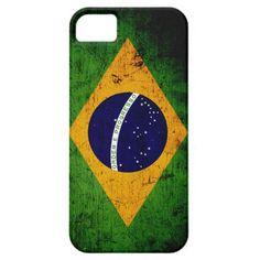 Black Grunge Brazil Flag iPhone 5/5S Covers