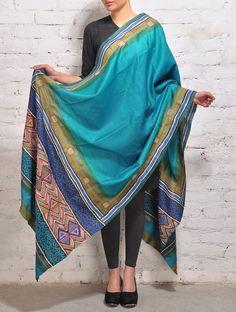Turquoise Kantha Tussar Silk Dupatta