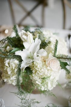 Lily Hydrangea and Rose Arrangement | photography by http://www.ashleyseawellphotography.com/