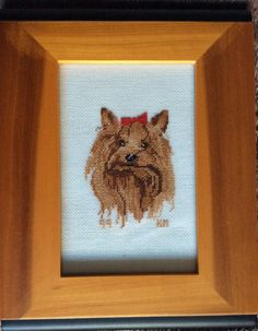 Yorkshire Terrier / Yorkie Petit Point that I completed. By Karen Miniaci