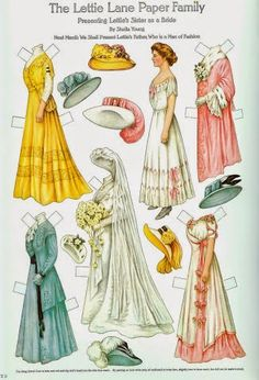 LETTIE LANE by Shelia Young ¤¥¤ Full-Color Reproduction of 24 Antique Paper Dolls Lettie's Sister The Bride #12