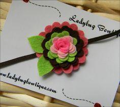 Wool Felt Flower Clip or Skinny Elastic by LadybugBowtique on Etsy