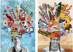 Self-portrait collages