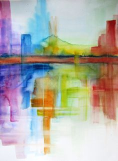 Abstract landscape  original watercolor painting 14x 19 by Kitty69, $65.00