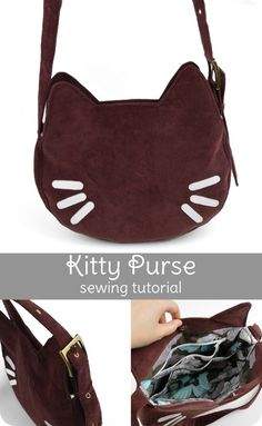 A free purse pattern to download featuring a gusseted kitty face bag with ears and appliqued facial features that you can customize. The lining includes several zippered inside pockets as well as …