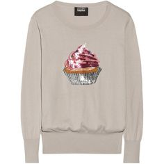 Markus Lupfer Natalie cupcake-embellished cotton sweater (4 335 UAH) ❤ liked on Polyvore featuring tops, sweaters, stone, sequin sweater, loose fitting tops, markus lupfer sweater, pink sweater and embellished sweater