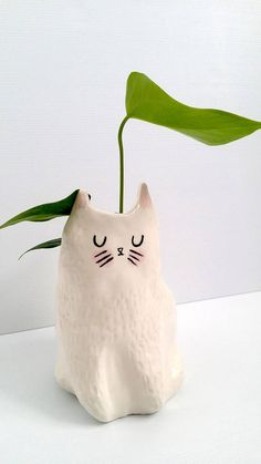 New Porcelain Ceramic Cat Planter / indoor planter / succulent planter / Ships 10th July 2017