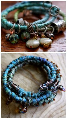 DIY Fabric Wrapped BraceletThis is an excellent fabric and bead stash buster project. All you need for this DIY is memory wire, scrap fabric or ribbon, and beads and charms for added embellishment. Here are a few of Umelecky's DIY Bracelets wrapped. Fabric Bracelets, Memory Wire Bracelets, Beaded Bracelets, Silk Bangles, Memory Wire Jewelry, Embroidery Bracelets, Wrap Bracelets, Paracord Bracelets, Pandora Bracelets