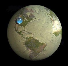 """kashino:  地球上にあるすべての水を集めて球にしたら、直径1,385kmになるそうだ。その水の球と地球を比較したのがこの図。地球が平均直径12,735kmだから、海も雲も湖も地球の表面に薄く張り付いているというイメージなんだね。 (via Photos: If All of Earth's Water was put into Single Sphere, from the USGS Water Science School)   """