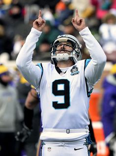 Carolina Panthers kicker Graham Gano gives thanks after successfully  kicking his second field goal vs the Minnesota Vikings during second  quarter action on ... 9449f9eb1