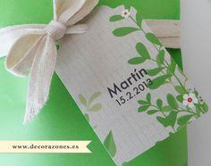 Etiqueta, cinta de algodón y bolsa cartulina