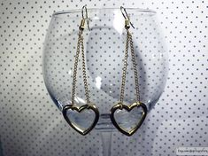 Heart earrings, chains earrings, sweet Lolita earrings, gold hearts earrings, gold earrings, fancy earrings, festive earrings, long earrings, cascade earrings, chandelier earrings, golden earrings ░ Heart-pendants: 23 mm x 25 mm ░ Gold color wire closure  !!! The product does not