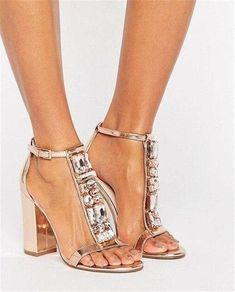 c326e6367207e9 Women Luxury Gold T-strap Rhinestone Chunk Heel Sandals Bling Bling Ankle  Strap Crystal High