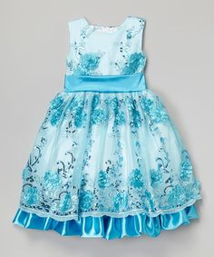 Look at this Blue & White Sequin Floral Dress - Infant, Toddler & Girls on #zulily today!