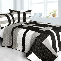 [Crystal Secret] Vermicelli-Quilted Patchwork Geometric Quilt Set Full/Queen