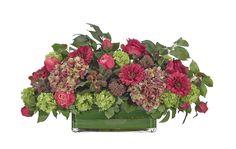 Rose, Snowball, Zinnia, Flax Grass (KF355): Rose Snowball, Fuchsia Green, Glass Rectangle, 27wx15dx13h