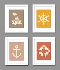 Digital Download Set of 4 Nautical Steam Boat Anchor  - Nautical Beach Kids Room Art - Ocean 8x10 11x14