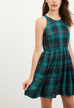 Simple Plaid Fit and Flare Dress
