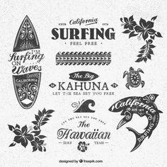 Variedad de insignias de surf Vector Gratis