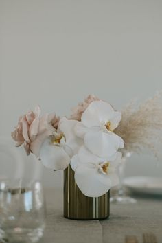 Modern floral with orchids, roses, and pampas grass wedding flowers Marquee Wedding Reception Styling Ideas! Orchid Centerpieces, Wedding Table Centerpieces, Wedding Decorations, Centerpiece Flowers, Centerpiece Ideas, White Orchid Centerpiece, White Orchid Bouquet, Centrepieces, Cake Flowers