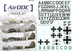 Junkers JU 88A Part 4. (12) No 8 Staffel III/KG76 France 1940; F1+AS 8/KG76 8/KG76 Russia; F1+GM 4/KG76 France 1941; F1+BR 7/KG76 Sicily 1943; F1+IT 9/KG76 Russia; F1+DP 6/KG76 Russia; PN+MT MG77 Italy; 3Z+CH 1/KG77 France 1940; 3Z+AB Stab 1/KG77 Russia; 3Z+FK 2/KG77 France 1941; 3Z+H III/KG77 Italy 1943; 3Z+EH 1/KG77 Italy