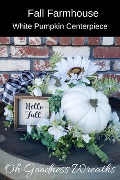 White pumpkins are very popular and filled with magic.... they say. Whether your home décor is Farmhouse or you are looking to add a touch of farmhouse to our Fall Décor, this piece will not disappoint. White Pumpkin Centerpieces, Floral Centerpieces, Fall Home Decor, Autumn Home, Fall Wood Signs, Unique Housewarming Gifts, Fall Arrangements, White Pumpkins, Front Door Decor
